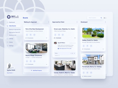 Real estate broker dashboard app fresh clean ux ui sell search region real estate interface house developer cards broker apartment dashboard ui dashboard