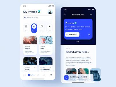 Photo Management App  🏞 插图 cards management photo interface icon fresh clean ui ux app