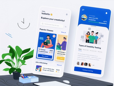 Conceptual Learning Platform Mobile App 插图 lesson study vector cards illustration fresh clean ux ui app learning app teaching student school learning