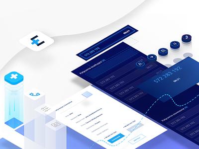 Emerline Presentation app desktop isometric dashboard ux ui