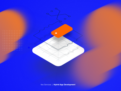 Hybrid App Development grid blur blue orange isometric development icon app