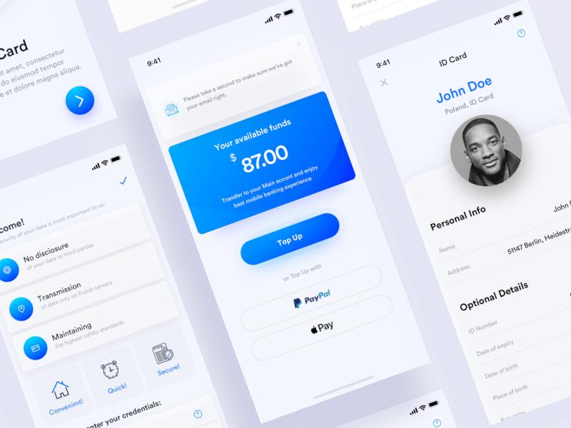 Banking verification app design desktop fresh applepay paypal card wallet money id veryfication ui ux user onboarding banking app