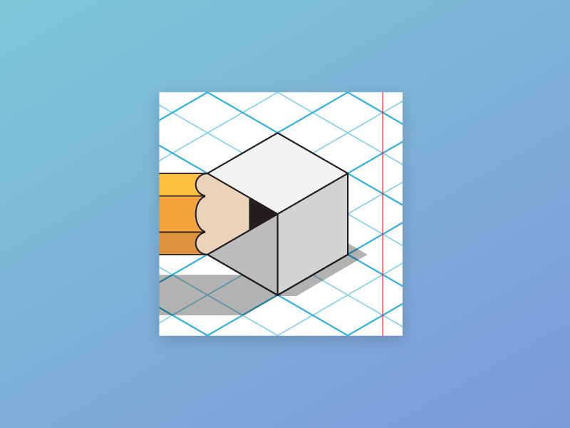 Designspace pencil margin for corrections isometric logo design icon