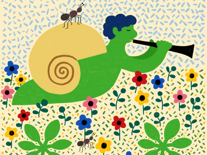 Snail Song nature animals design drawing illustration childrens art