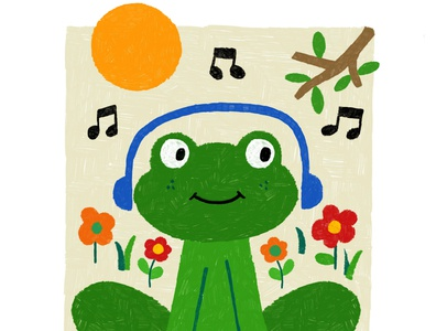 Summer Frog frogs character design nature drawing childrens art illustration