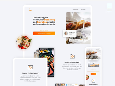 Restaurant discovery website landing page animated icons animation micro interactions food orange restaurant responsive website web design ui