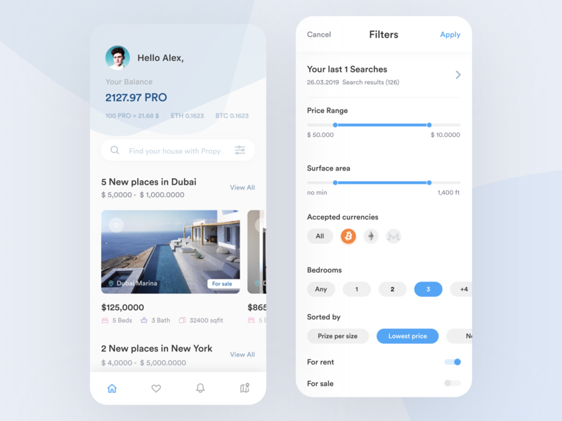 Propy App - Decentralizing Real Estate propy mobile ether ethereum bitcoin crypto ux ui ultimstudio contract smart dapps dapp app filter finder house real estate cryptocurrency blockchain