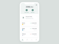 Abra App - Investing Simplified transaction wallet crypto wallet money transfer investing pastel color clean ui app minimalist crypto bitcoin ux ui blockchain