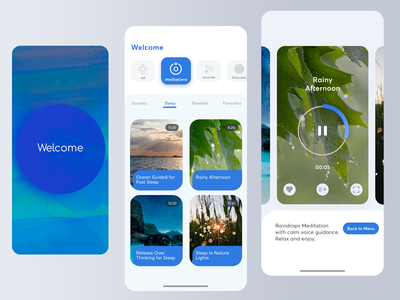 Relaxing mobile app concept