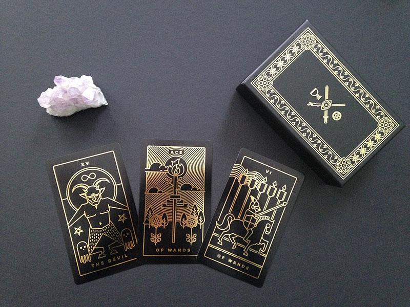 Golden Thread Tarot Printed Deck gold foil stroke card deck printed packaging fortunetelling magic oracle mystic occult tarot deck tarot