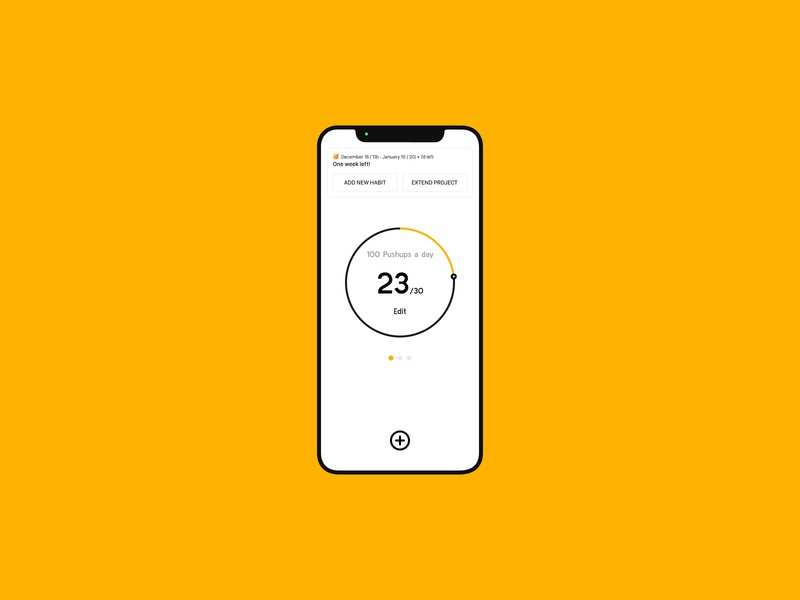 Countdown Timer — Daily UI Challenge #014-2 follow instagram timer time countdown yellow android tracker habits atomic user interface minimal idea ux interface daily ui app design dailyui
