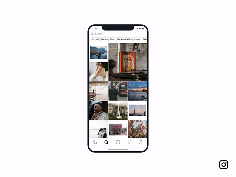 Search — Daily UI Challenge #022-2 (Ft. Instagram) picture creative filter image photographer photography search instagram mobile user interface minimal idea ux interface daily ui app design dailyui