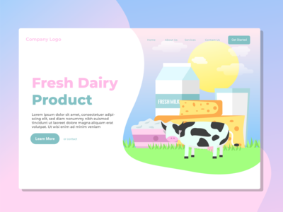 Fresh Dairy Product Landing Page Illustration
