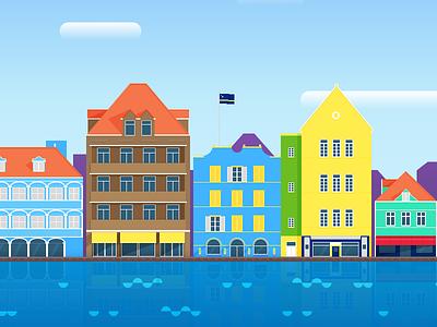 Willemstad, Curaçao sketch vector illustration buildings colour sea sky landmark