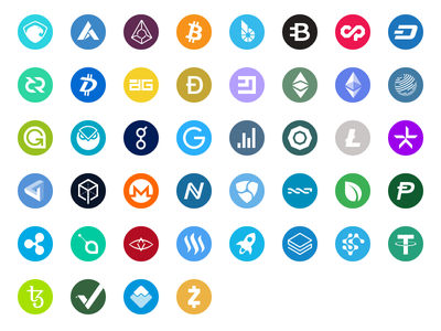 Cryptocurrency Icons svg altcoins coins cryptocurrencies crypto bitcoin outline flat icon-set icons