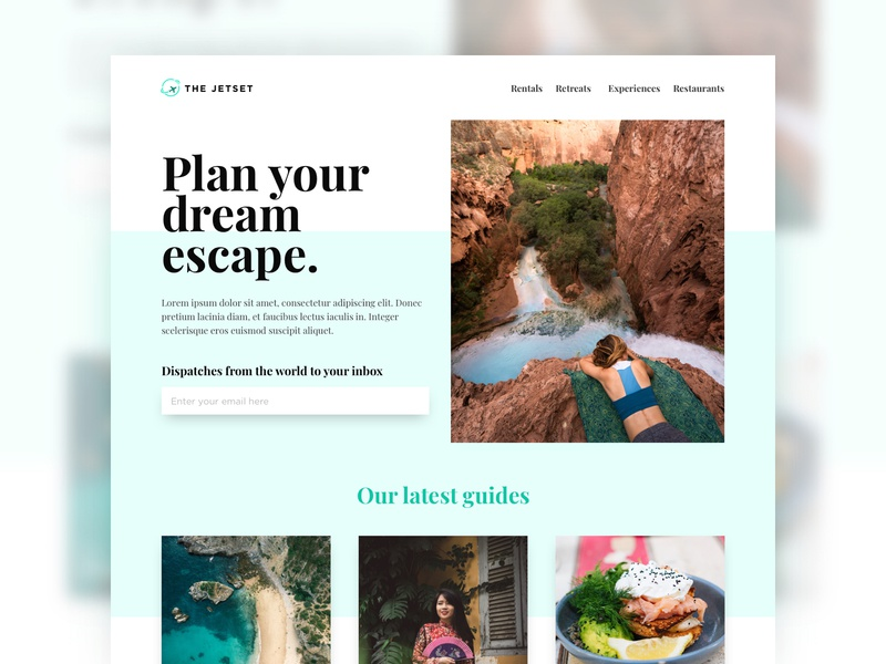 The Jetset home page trends dribbble travel website fake web