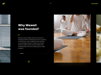 An animated carousel WeWell gif neon color wellness promo video website web ux sport ui interaction animation