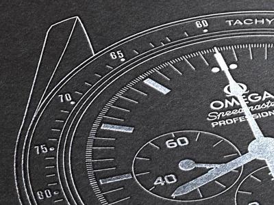 Omega Speedmaster Professional - Foil Emobssed Poster minimalism minimal poster illustration ap rolex timepiece horology watch speedmaster speedy omega