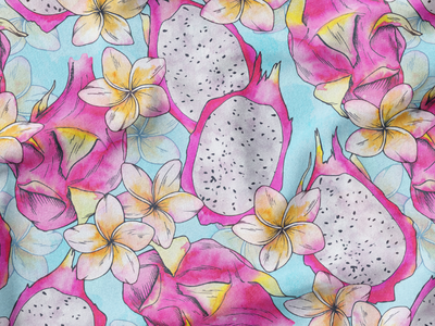 Tutti Fruity Watercolor Pattern tropical fruit trends2021 fabric textile design summer2021 pattern