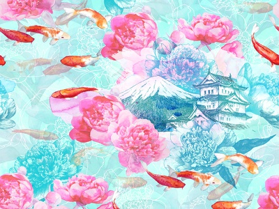 Watercolor Koi, Architecture and Pink Peonies Pattern pink architecture koi watercolor tatyanakomarovaart pattern peonies garden flowers