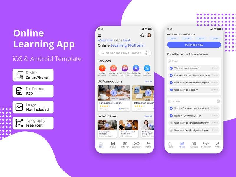 Online Learning Platform Mobile App identity design event identity e-learning ux typography task study student product mobile learning lesson learn knowledge exam education courses app class design system class app calendar