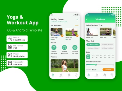 Yoga & Workout App tracker yoga app workout time mobile simple startup healthy gymnastics gym app gym graphic diet yoga workout ui trainer muscle health fitness clean app