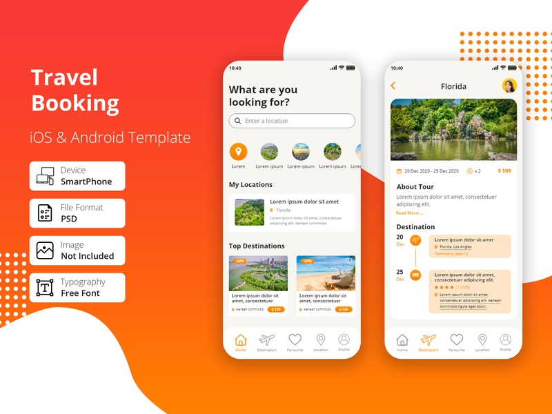 Travel Booking App luxury layered ux user interface ui kit ui travel planner travel app travel tour app tour mobile app iphone app iphone ios hotel app hotel destination app booking app android