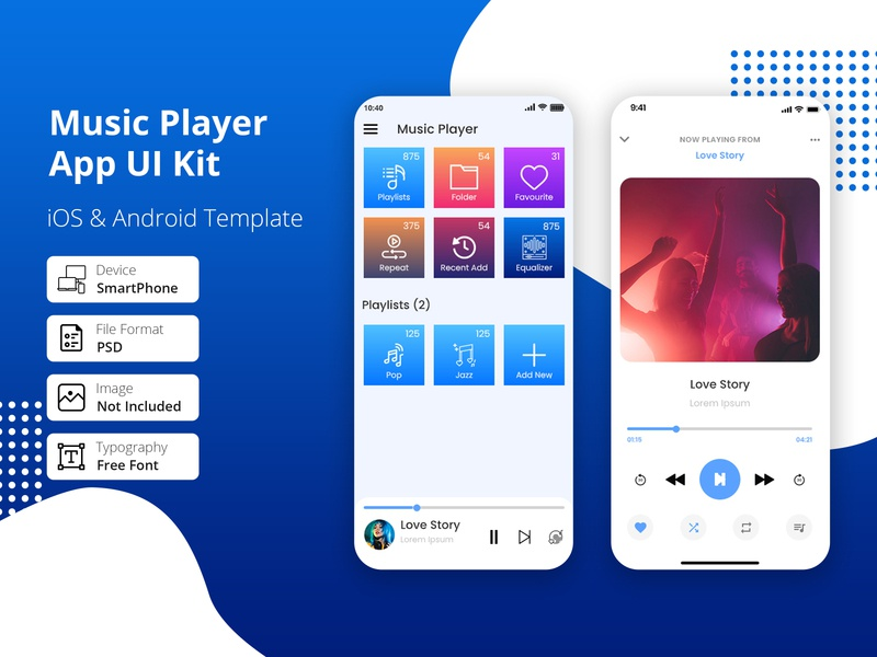 Music/ Audio Player App playlist trend music player player play song music responsive players mobile app mobile listen media player media ios design theme dark artist app android