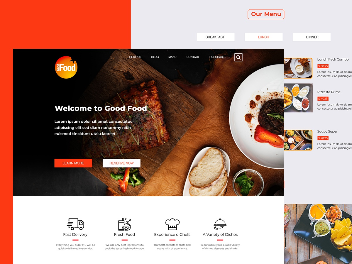 GoodFood-Restaurant Website Free Psd Template by Bishal
