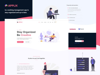 APPLIX Apps Landing page with great User Interface. typography interaction corporate agency free freebies bishal ux multipurpose design user interface illustration time meeting application schedule organize work timer apps