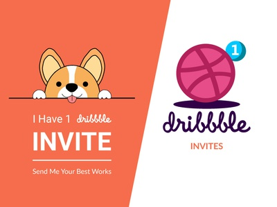 Dribbble Invite multipurpose ux dog illustration dog light vector mark kitten invitation icon design animal ui cat invite illustration logotype dribbble drafted colors