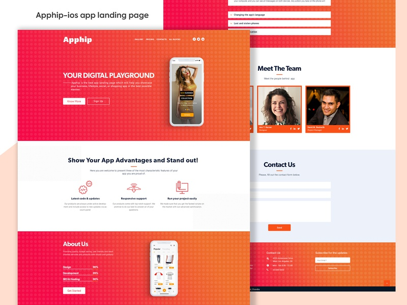 Apphip-ios app landing page design visual design ui ux trendy design mobile app minimal web design landing pages ios apple 2019 clean ui app typography app design homepage creative agency website trend landing page