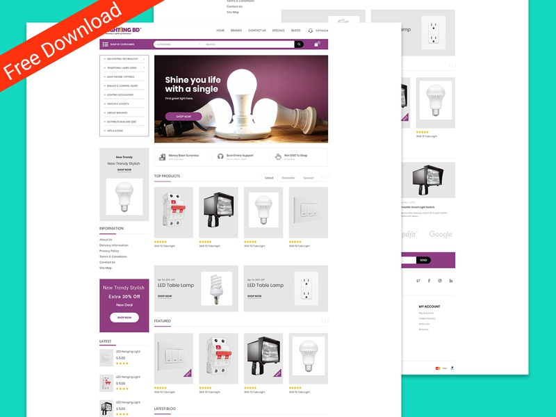 Lightingbd is a redesign for a Corporate e-commerce Company. freebie business solution o-commerce business branding agency corporate web ux ui design bulb light custom design wholesale e-commerce adobe xd xd freebies free