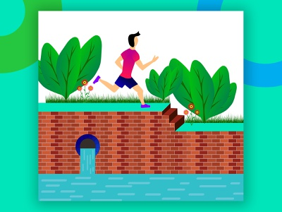Morning Exercise: Boy running on the park. workout sport personal trainer health walking fit fitness exercise wealth