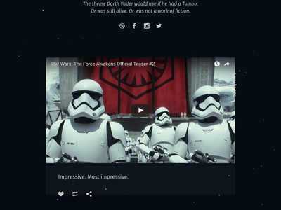 Dark Side, Free Tumblr Theme responsive blog animation dark stars minimal force darth vader star wars open source theme tumblr