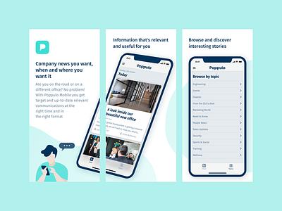 Poppulo · App Store Screenshots app screens app design app mobile promotional material illustration app store