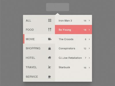 Popup Menu seven menu list flat app psd fun practise