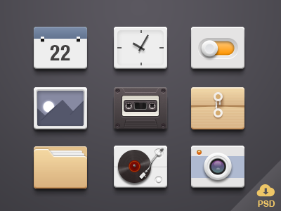 icons-Free PSD seven icons psd free
