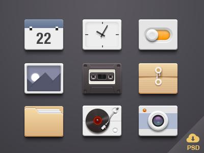 icons-Free PSD seven icons psd free
