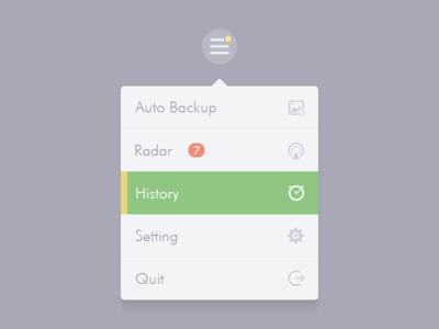 Menu menu list seven radar history setting quit backup