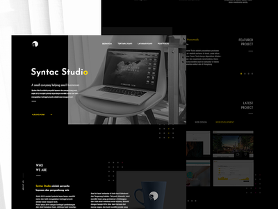 Syntac Studio Redesign Concept landing dark ux ui black explore webdesign trending minimal branding web design