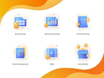 Gradient Icons wave landing pattern illustrations trending icons gradient flat fill dashboard contract branding