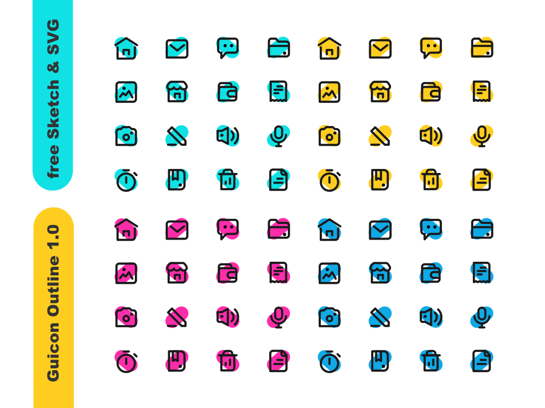 Guicon Outline 1.0 | freebies Outline Icon icon a day guicon svg sketch mark branding freebie-friday freebies icons set icon color design ui