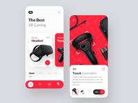 Oculus VR App trend 2019 red concept app redesign minimal app design minimal minimal app guicon shop app vr oculus app  design app ux color explore design ui trending branding