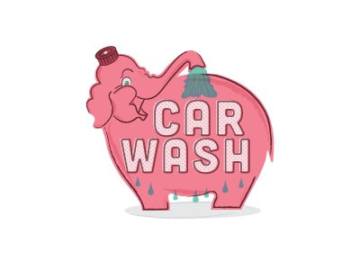 Pink Elephant landmark pinkelephant seattle carwash vintage illustration
