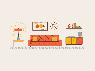 Mid Century Living Room vector furniture infographic couch vintage lamp globe livingroom
