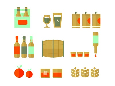 Graveyard Icons icons illustration vector wheat oldfashioned whiskey brewing shots kegs alcohol beer