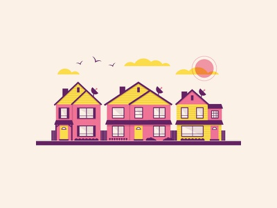 The Burbs vector illustration front yard backyard family tv satellite suburbs houses