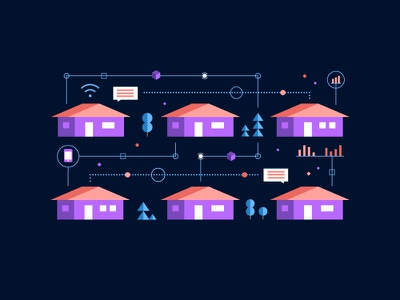 Little Tech Boxes infographic illustration vector colors future data suburbia communication wifi cellphone technology neighborhood