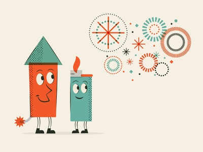 Fireworks Playtime (A Cautionary Tale) caution playtime summer fireworks characters motion illustration vector